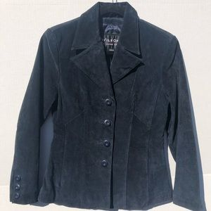 Wilson's Leather Vintage Navy Blue Suede Jacket